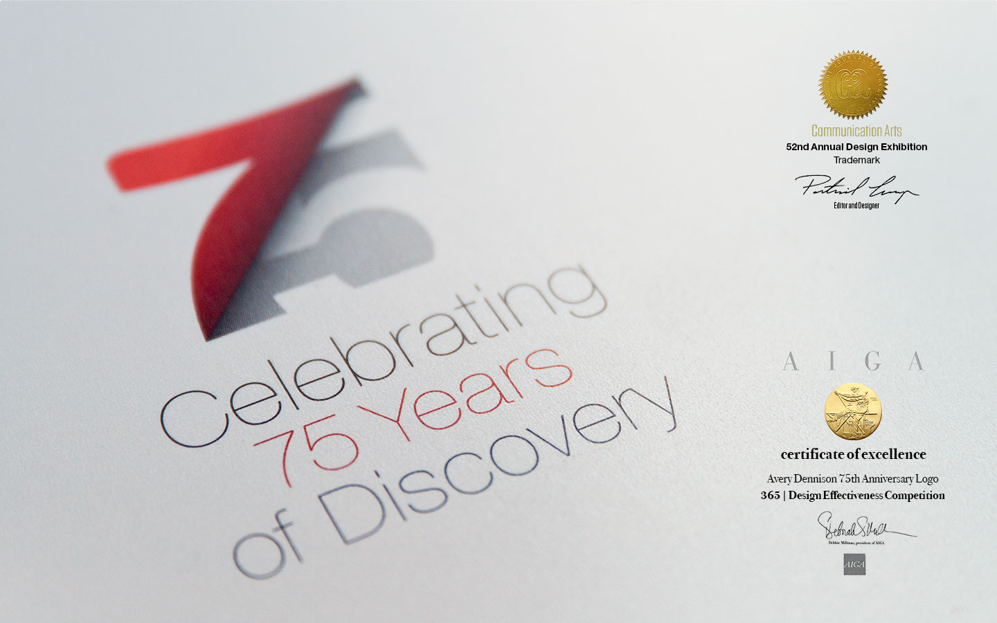 printed version of Avery Dennison's 75th anniversary logo