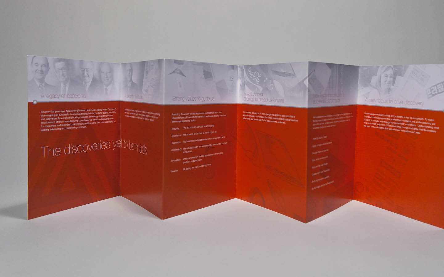 Avery Dennison 75th anniversary printed timeline accordion fold side two
