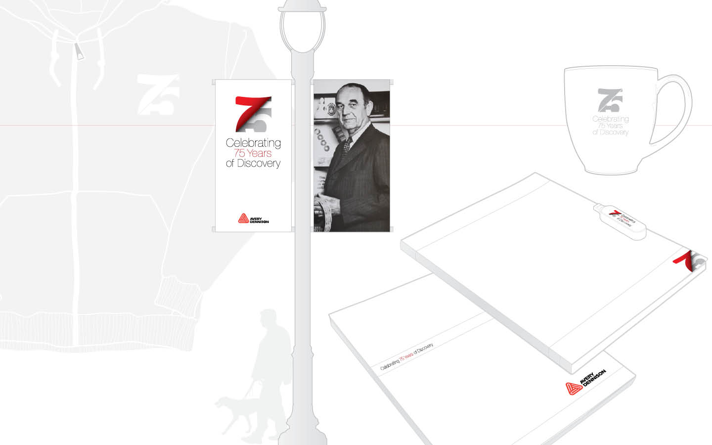 Avery Dennison 75th anniversary identity guideline graphics