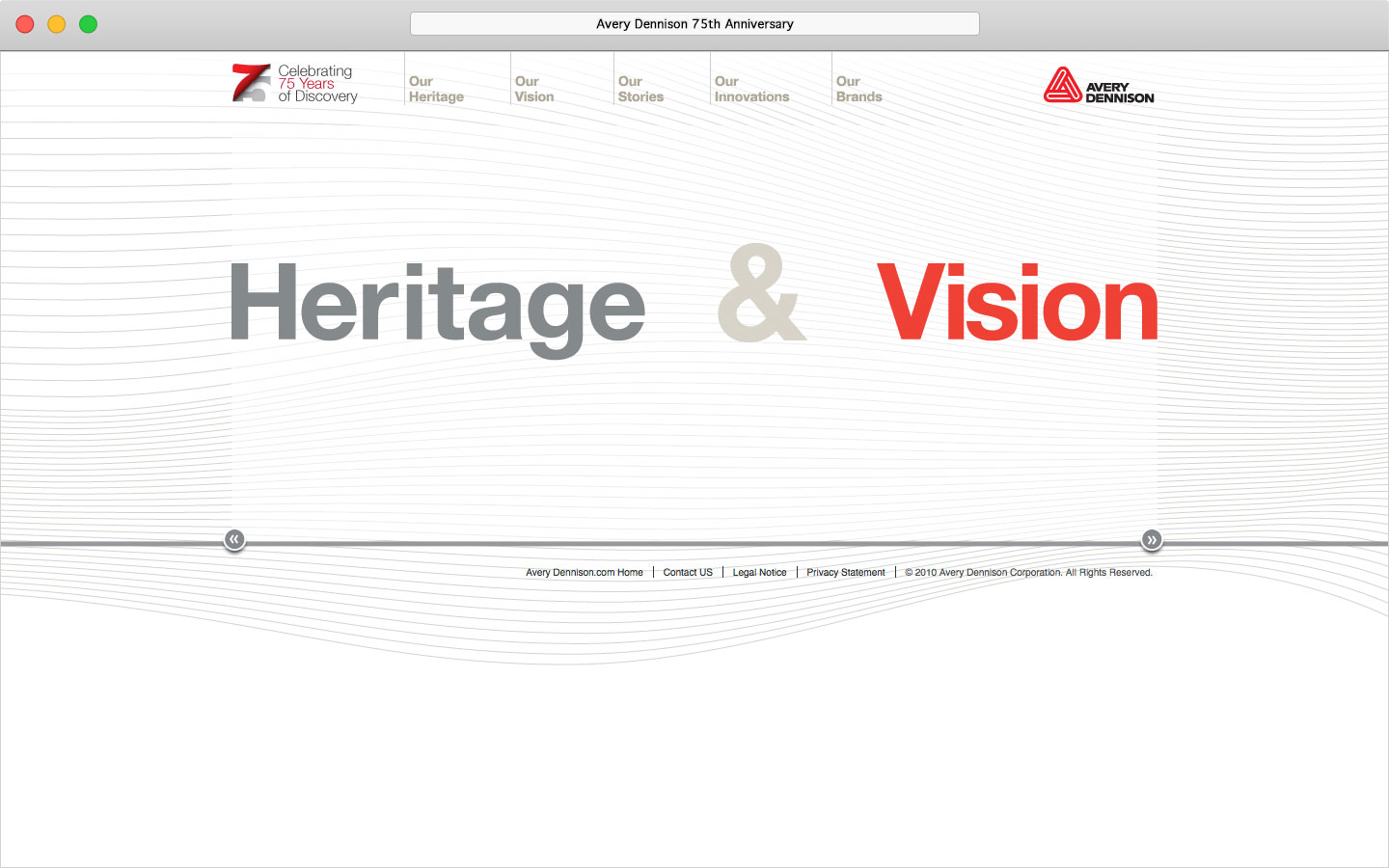 Avery Dennison 75th anniversary microsite homepage