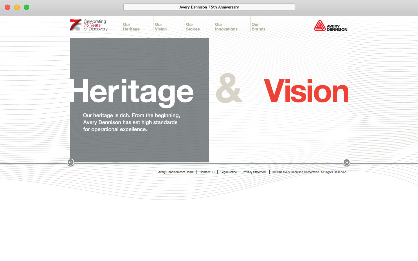 Avery Dennison 75th anniversary microsite homepage interaction
