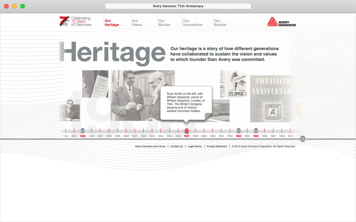 Avery Dennison 75th anniversary microsite online timeline