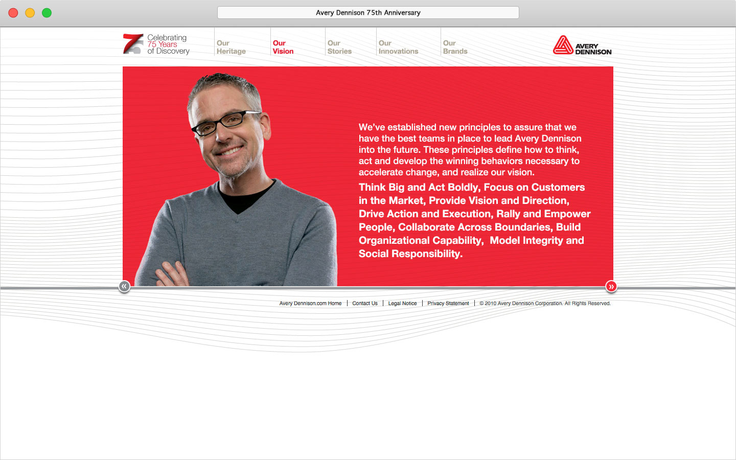 Avery Dennison 75th anniversary microsite Our Vision page