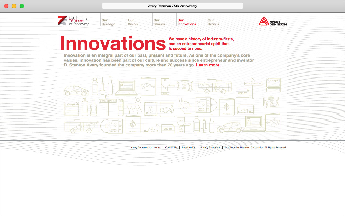 Avery Dennison 75th anniversary microsite Our Innovations