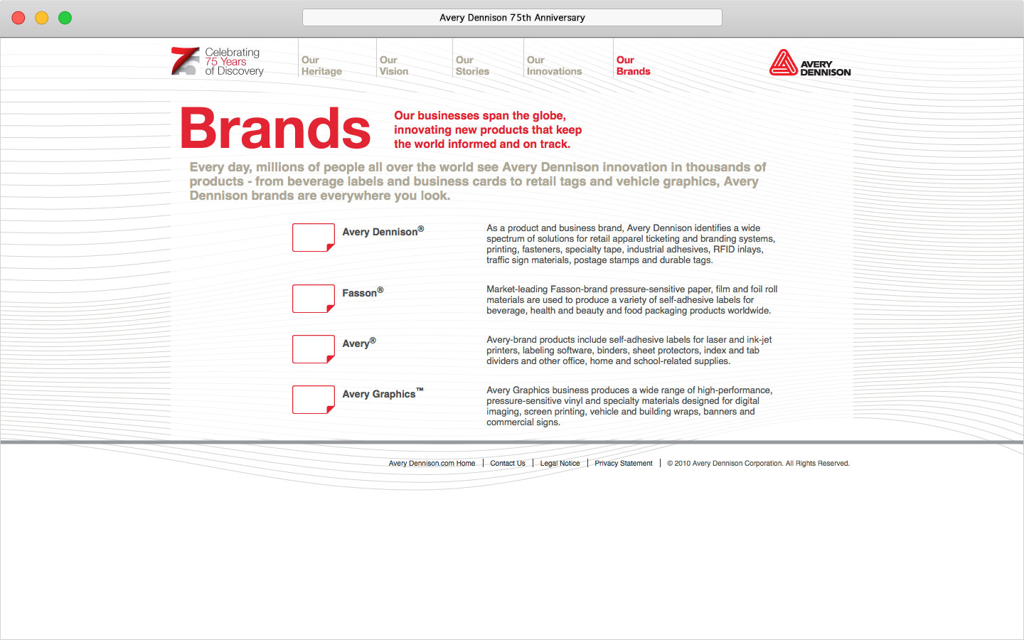 Avery Dennison 75th anniversary microsite Our Brands page