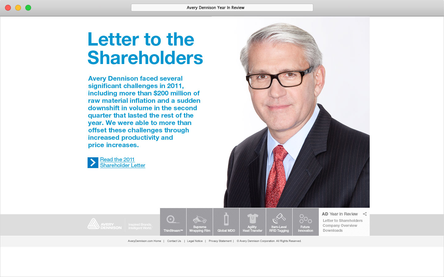 Avery Dennison 2011 Online Year In Review Letter to Shareholders with CEO photo