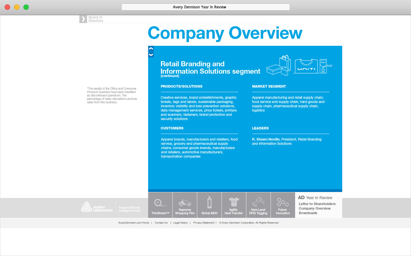 Avery Dennison 2011 Online Year In Review Company Overview