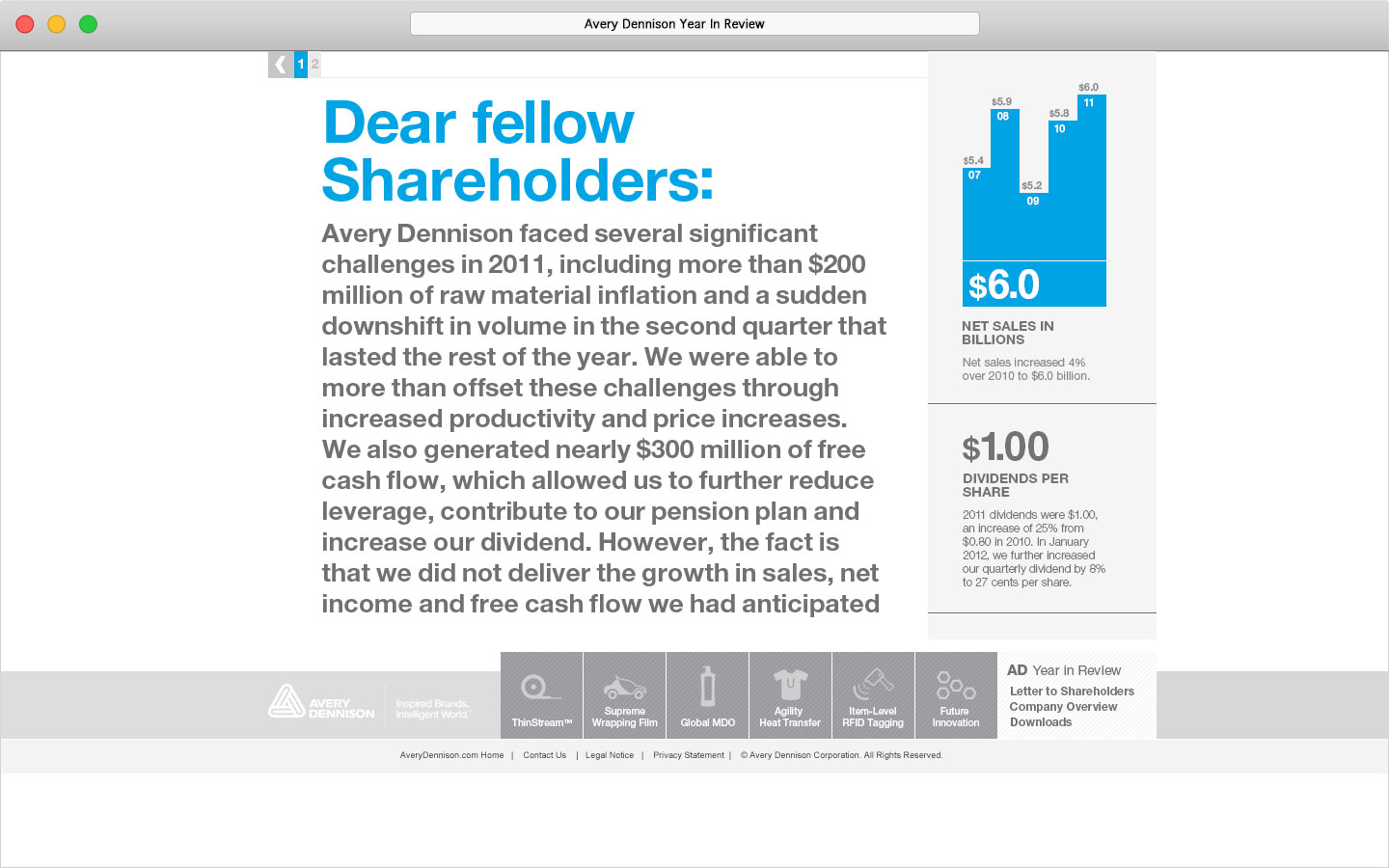 Avery Dennison 2011 Online Year In Review Letter to Shareholders